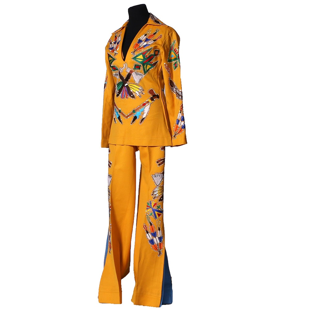 "70s Vintage Nudie's Rodeo Tailors of North Hollywood, California ""Nudie Suit"" with Embroidered Native American Motif and Swarovski Crystal Rhinestones"