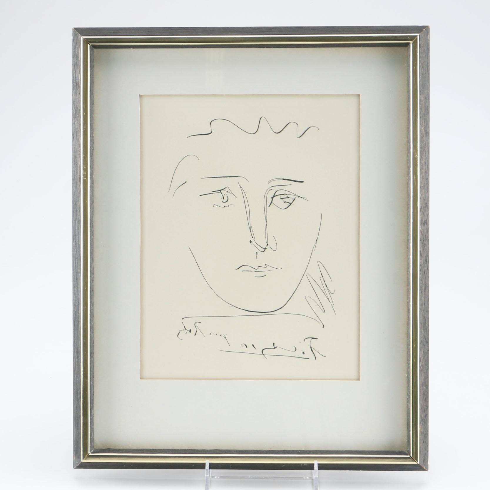 "Pablo Picasso Restrike Etching ""Pour Robie"""