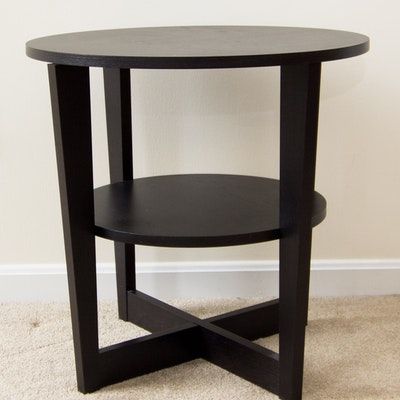 two tier end table with built in lamp ebth. Black Bedroom Furniture Sets. Home Design Ideas