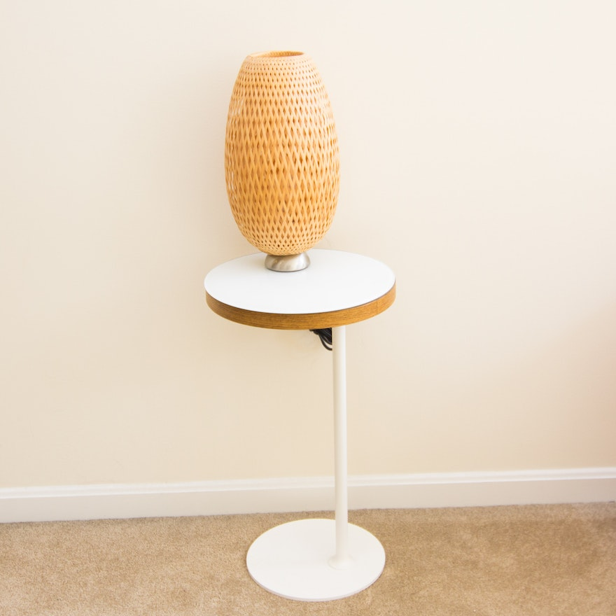 Swivel Gl Top Side Table And Braided Cane Lamp By Ikea