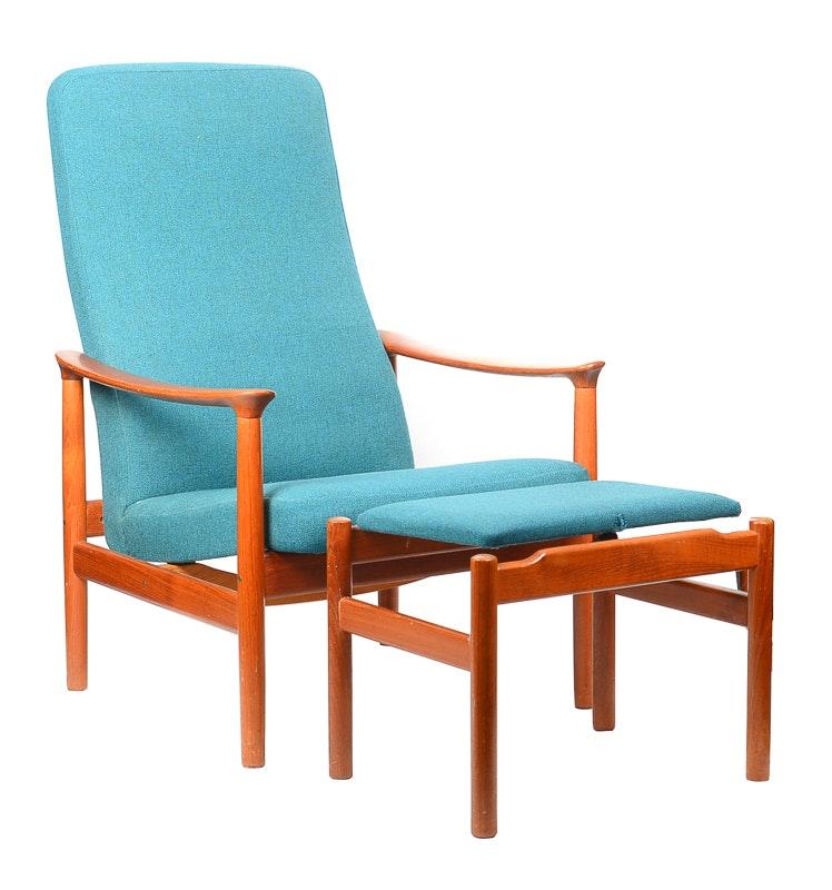Westnofa Teak Reclining Chair With Ottoman Ebth