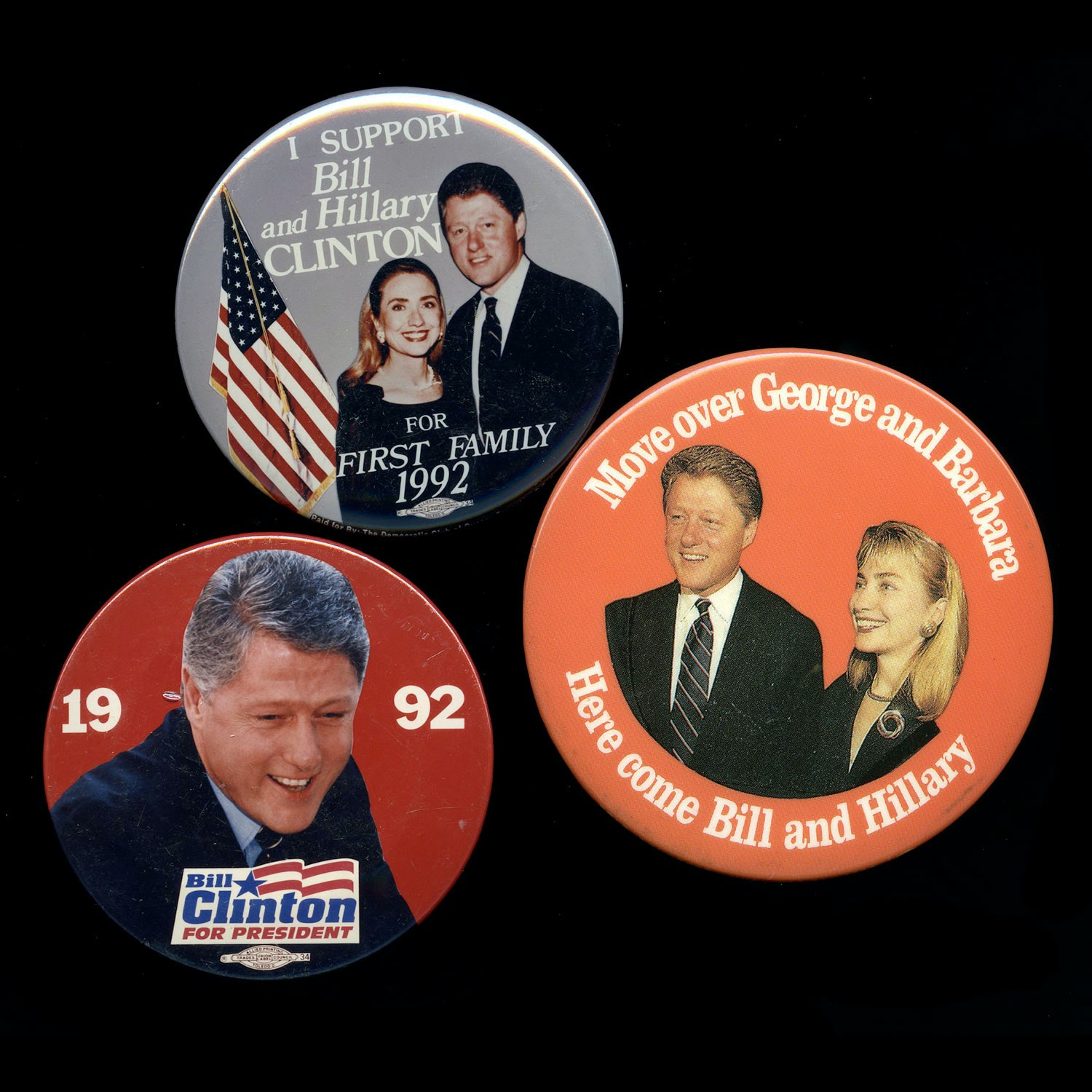 1992 Bill Clinton Presidential Election Buttons