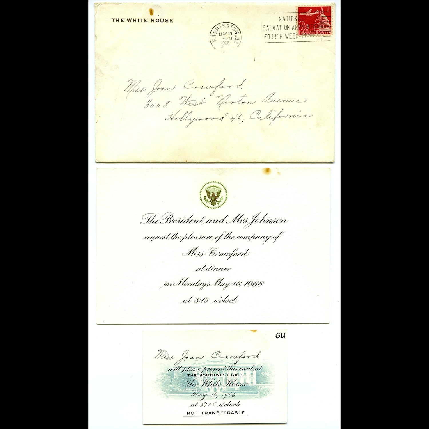 Authenticated Invitation to Joan Crawford for Dinner with the Eisenhowers