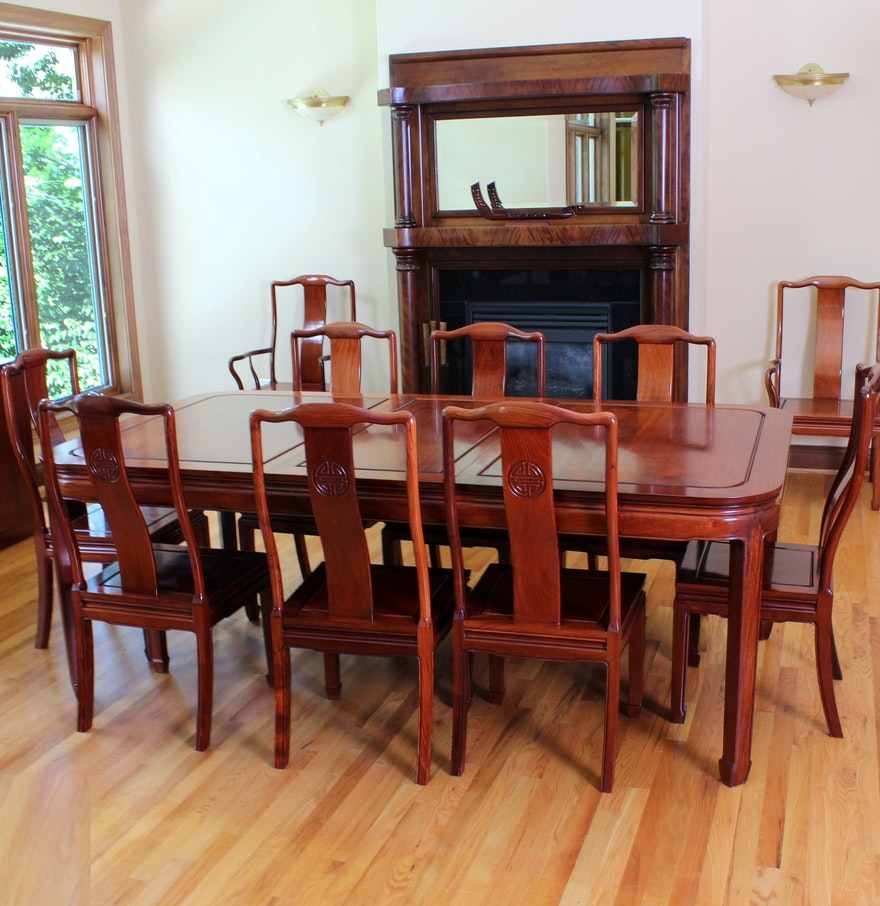 Custom made rosewood dining table and chairs ebth for Custom kitchen tables and chairs