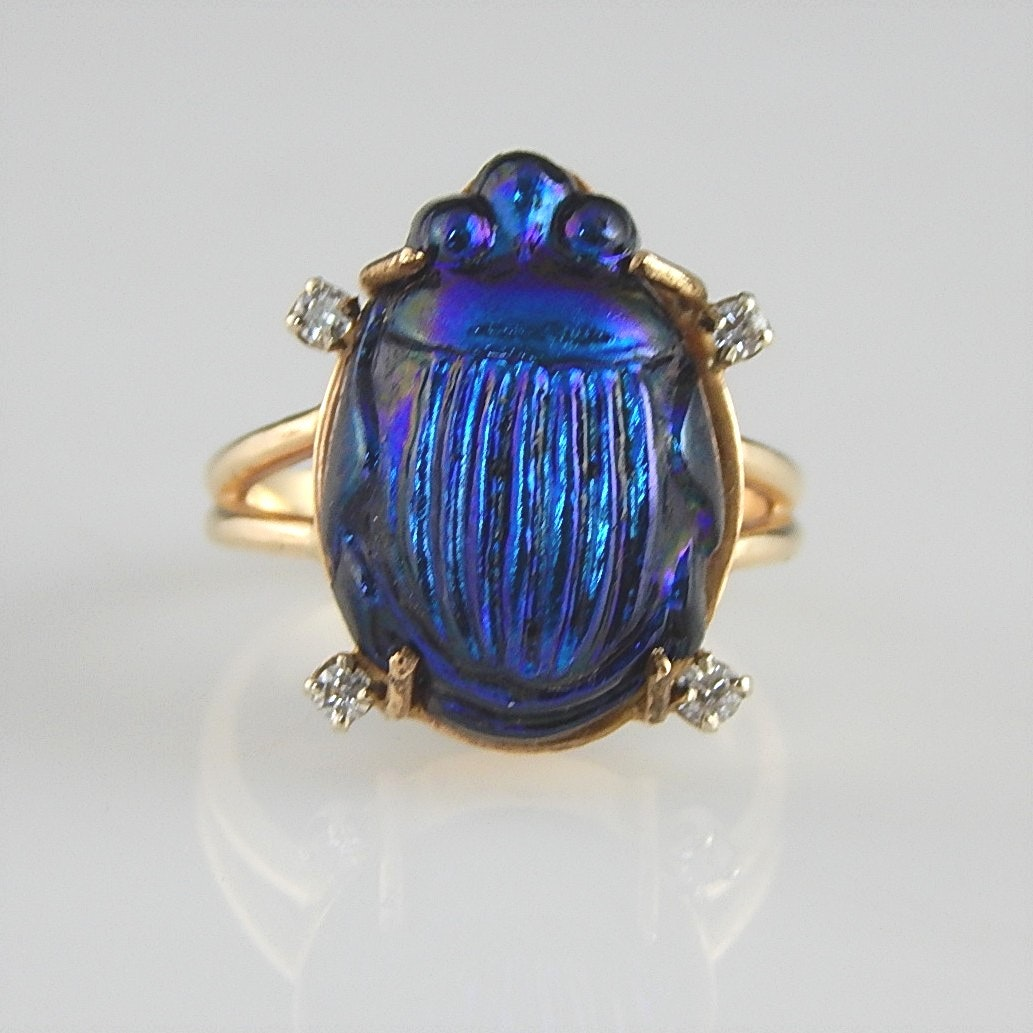 14K Yellow Gold Blue Carved Scarab Ring with Diamond Accent