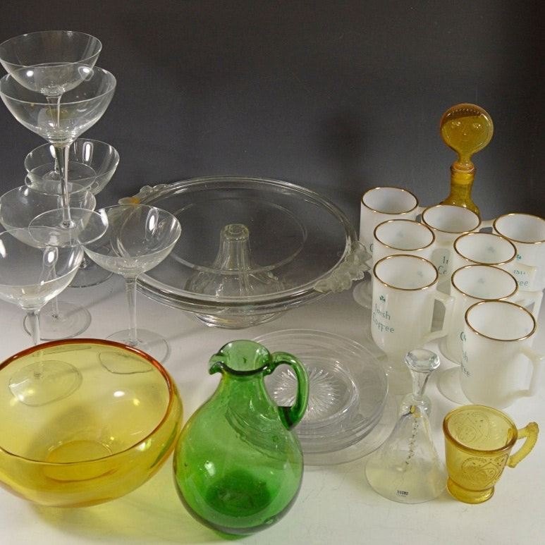 Vintage Pressed, Milk Glass and Patterned Glass