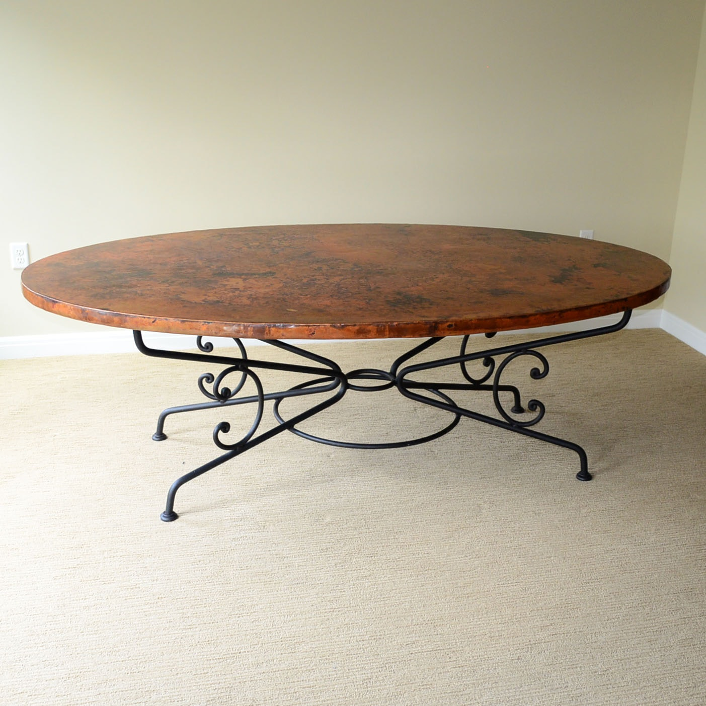 "Arhaus ""Arabesque"" Hammered Copper And Iron Dining Table"