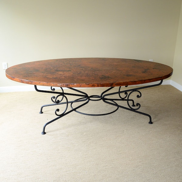arhaus arabesque hammered copper and iron dining table ebth. Black Bedroom Furniture Sets. Home Design Ideas