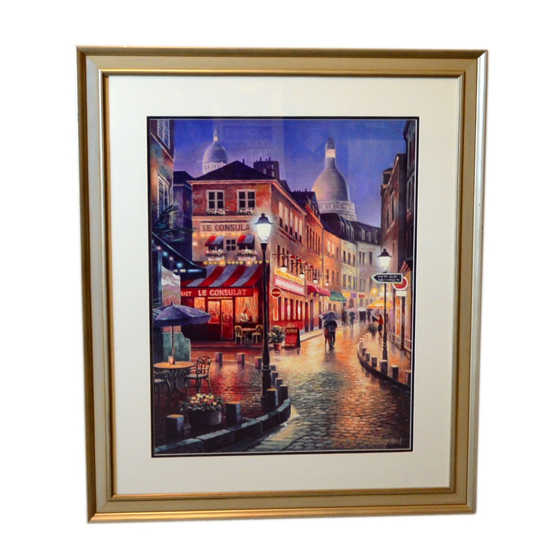 Framed Offset Lithograph Depicting A Street Scene