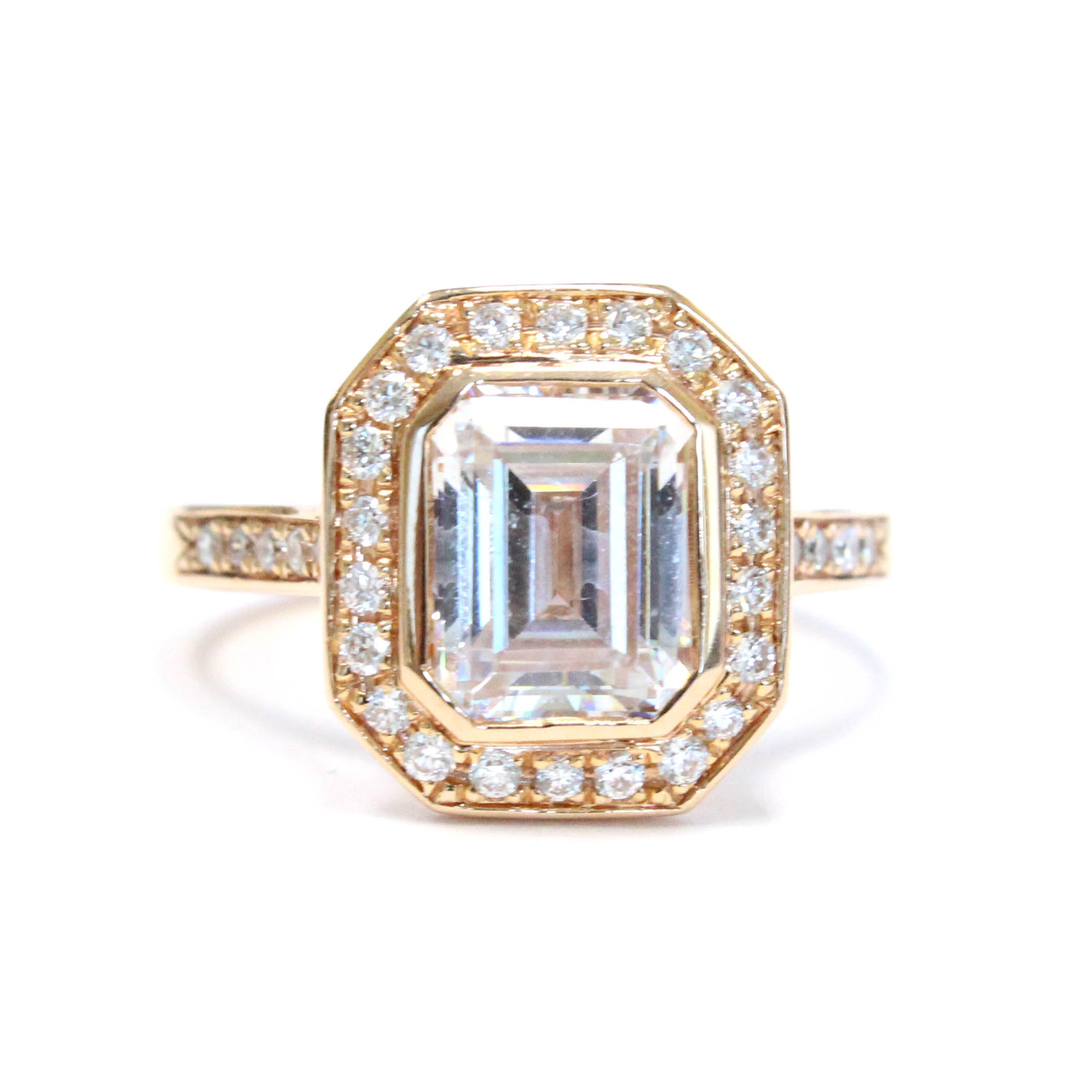 18K Pink Gold Ring with Diamonds and Cubic Zirconia