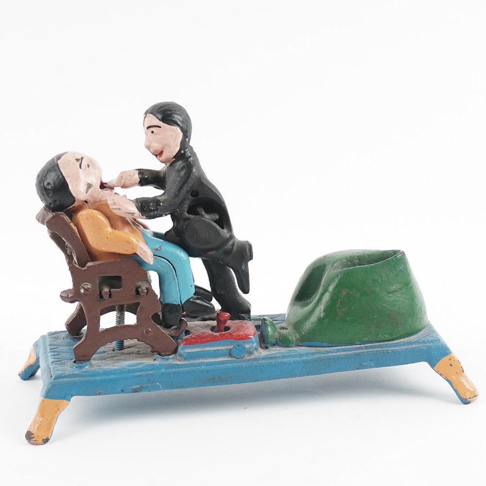Reproduction Mechanical Cast Iron Dentist Bank