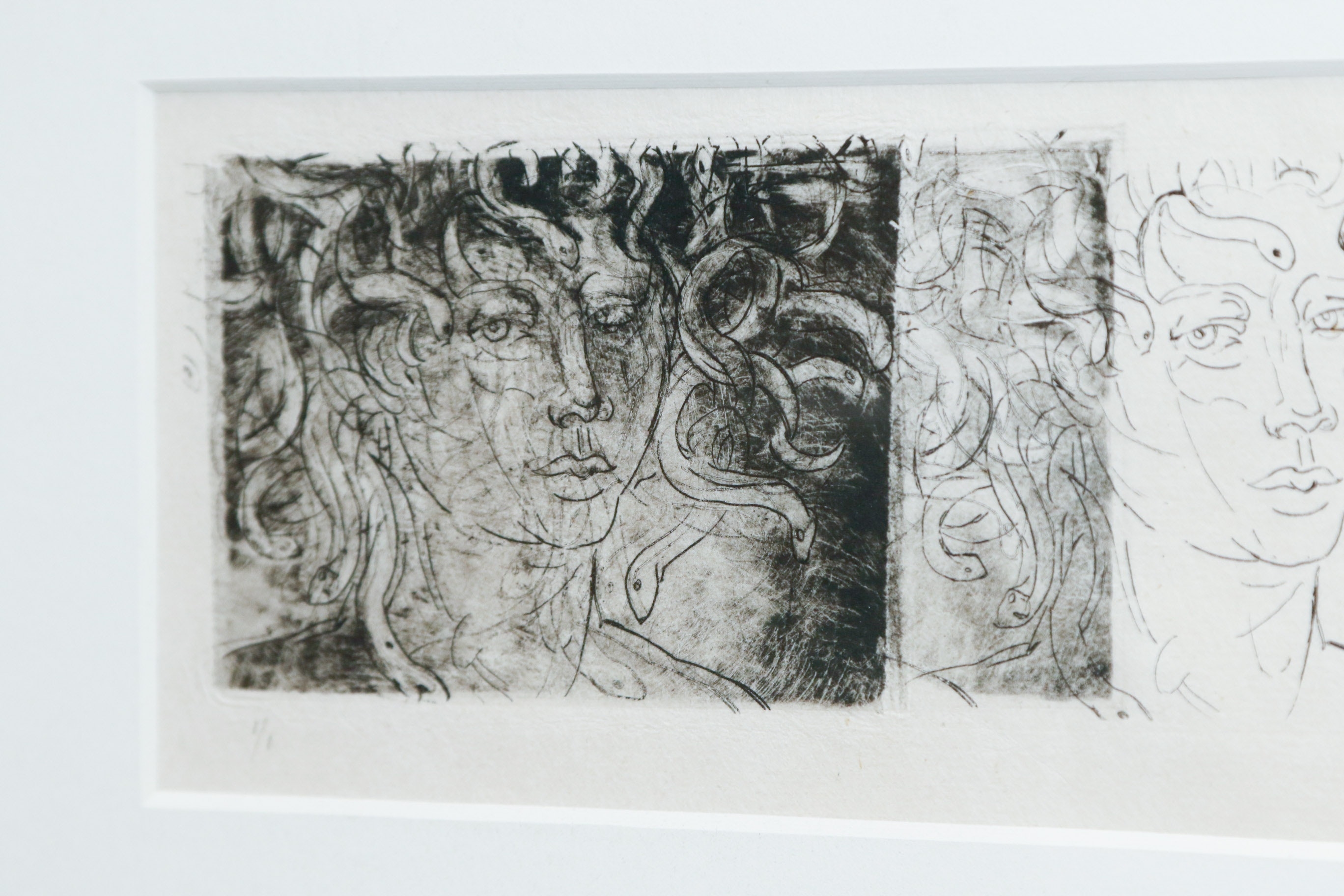 Original Monoprint Etching On Paper With Carved Bookends