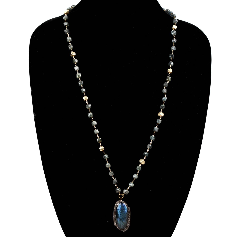 Custom Made Necklace with Labradorite Pendant and Pave Diamonds