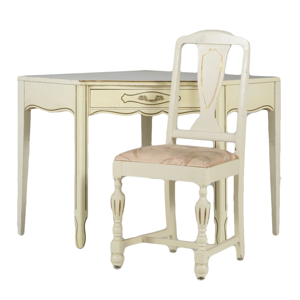 Vintage French Provincial Corner Desk And Chair Ebth
