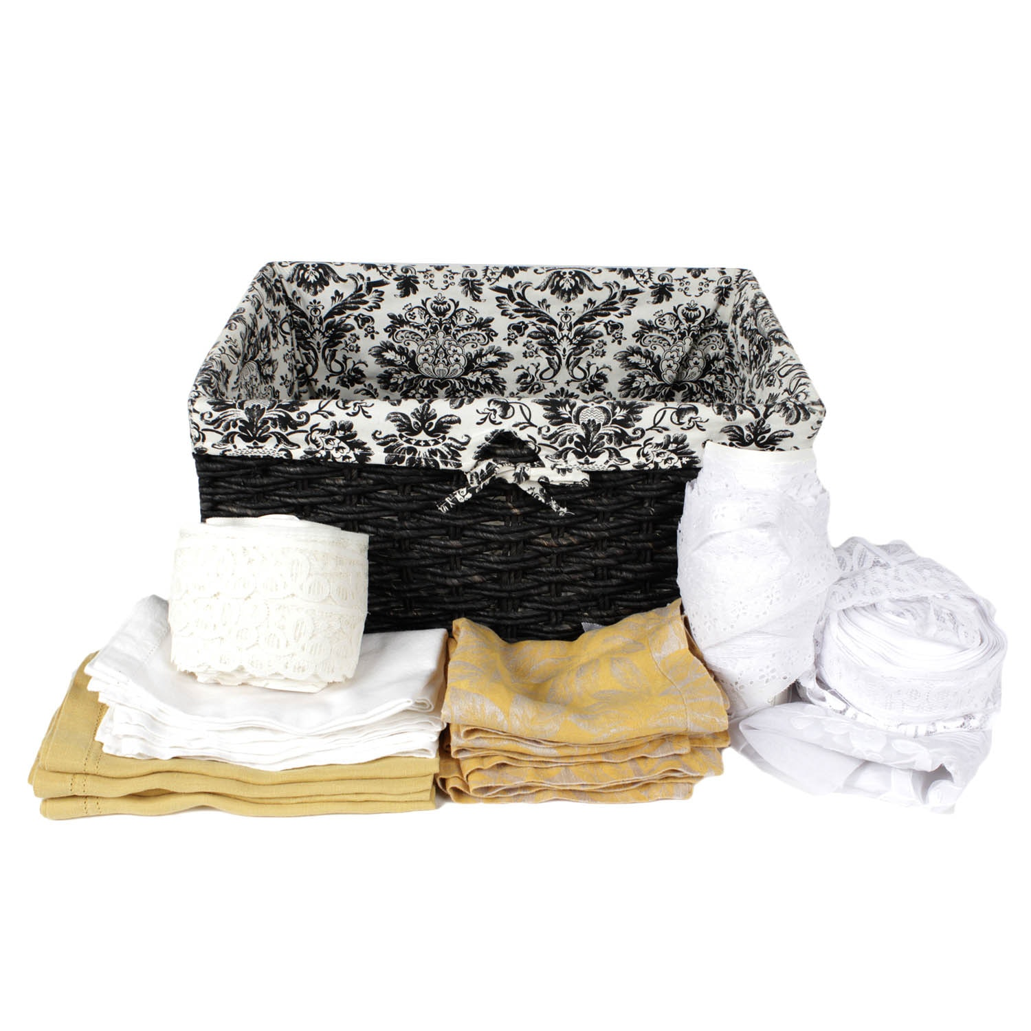 Lined Wicker Basket with Lace and Table Linens