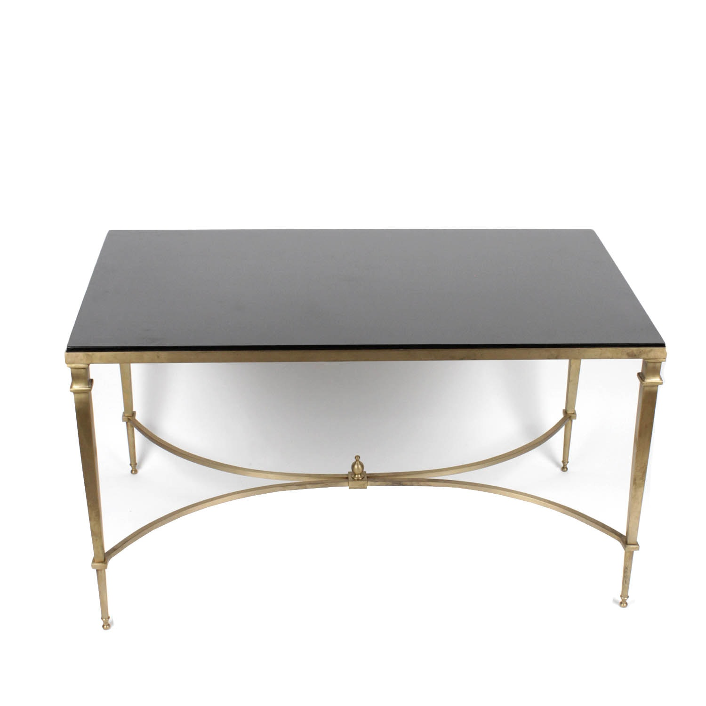Black Granite Coffee Table with Metal Base