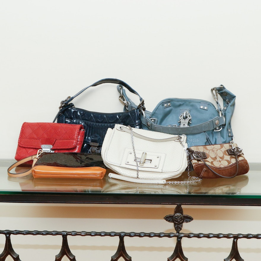 Collection Of Small Handbags And Clutches Including Coach