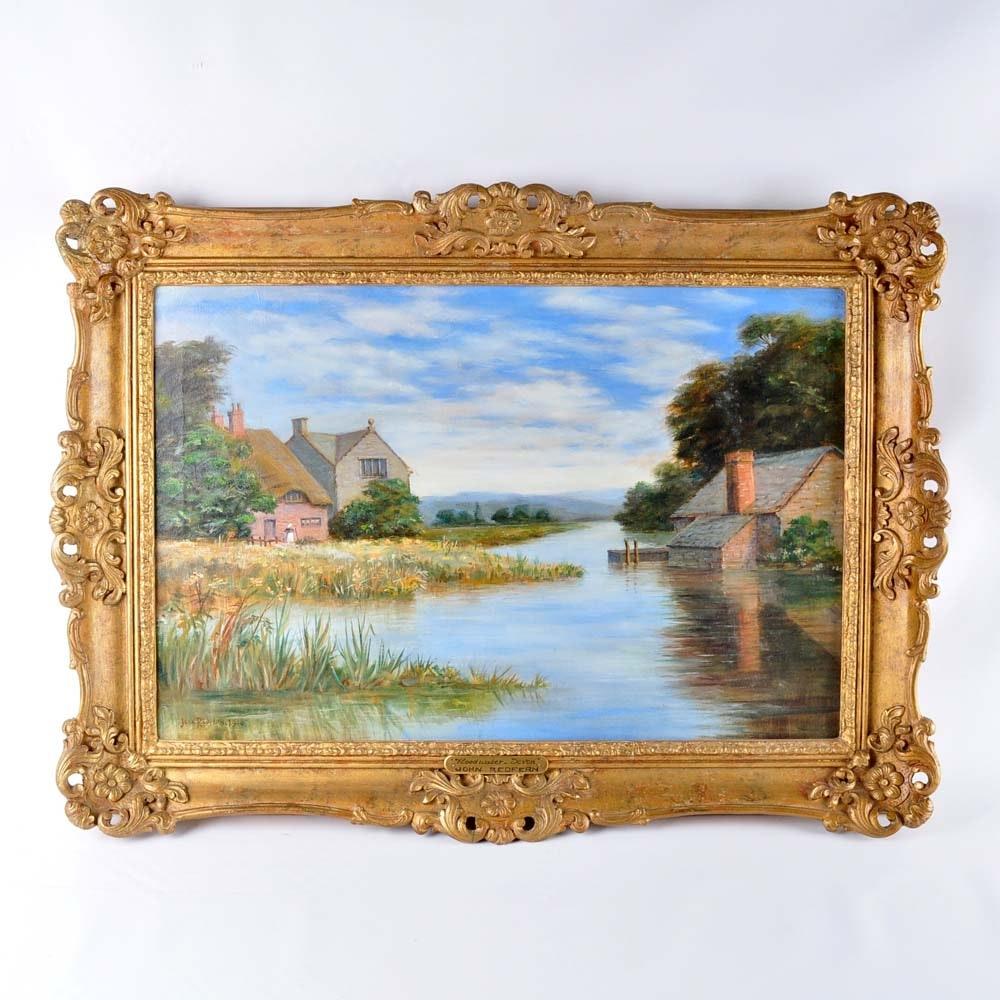 "John Redfern Original Oil Painting ""Floodwater - Devon"""