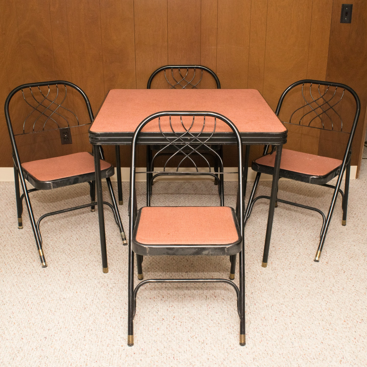 vintage hden folding card table with four chairs ebth