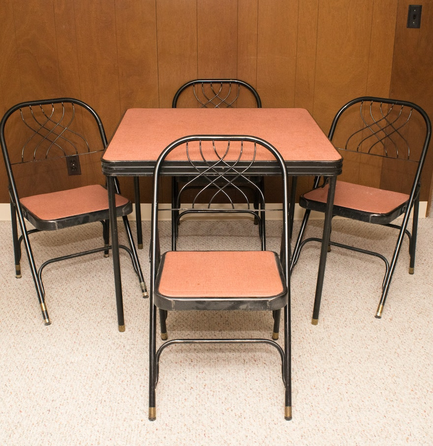 Vintage Hampden Folding Card Table With Four Chairs Ebth