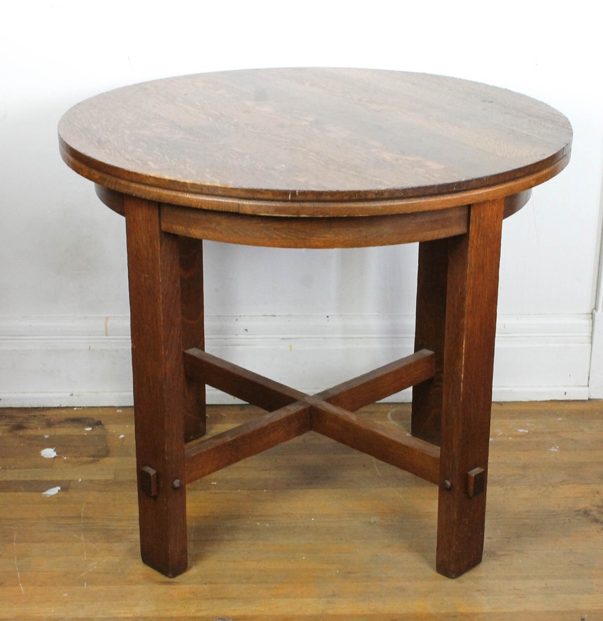 Vintage mission style wood table ebth for Table 52 2016