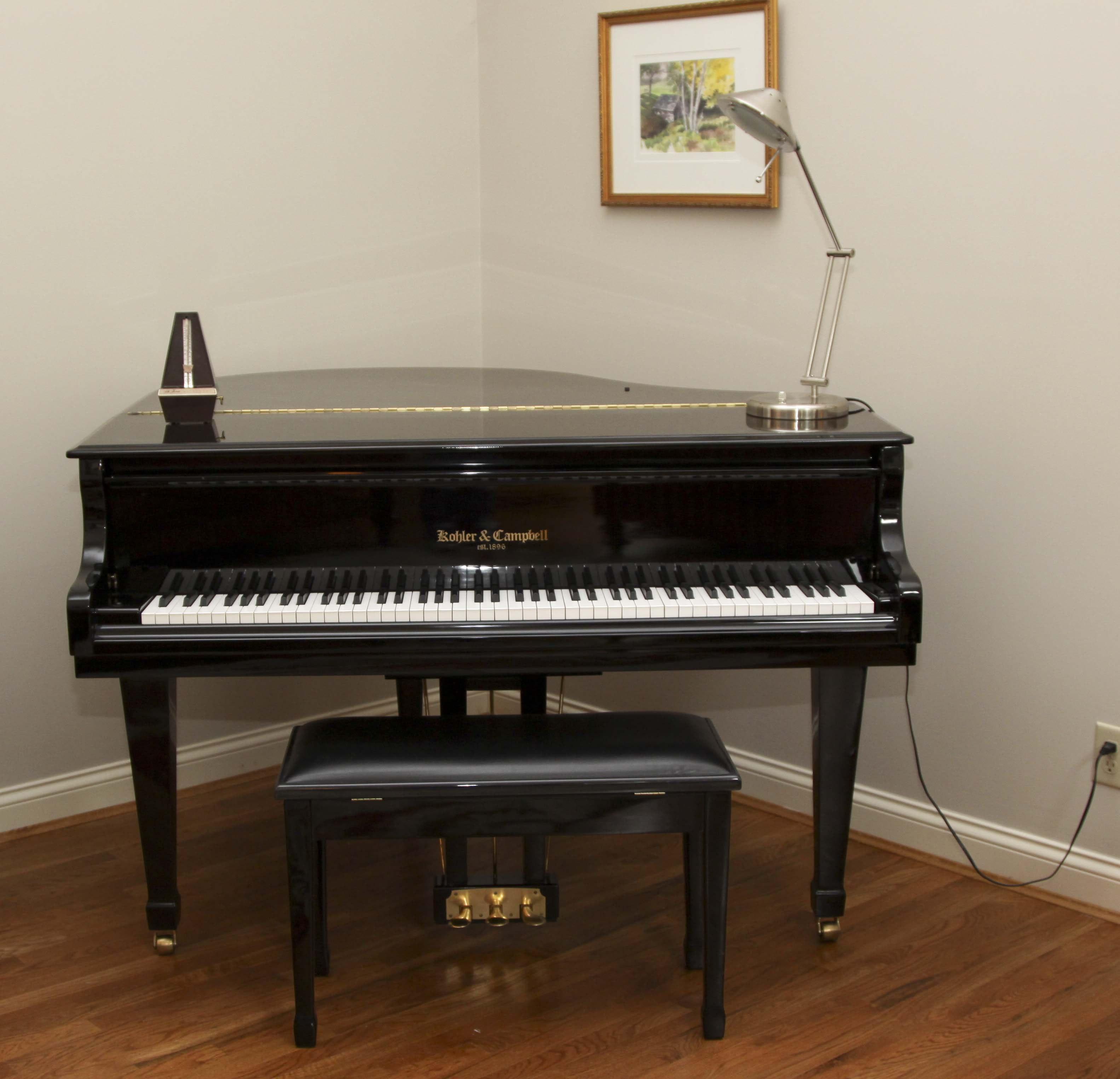 Kohler & Campbell Baby Grand Piano, Lamp and Seth Thomas Metronome