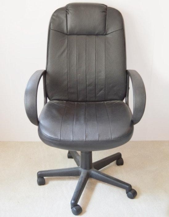 Black Vinyl Office Desk Chair