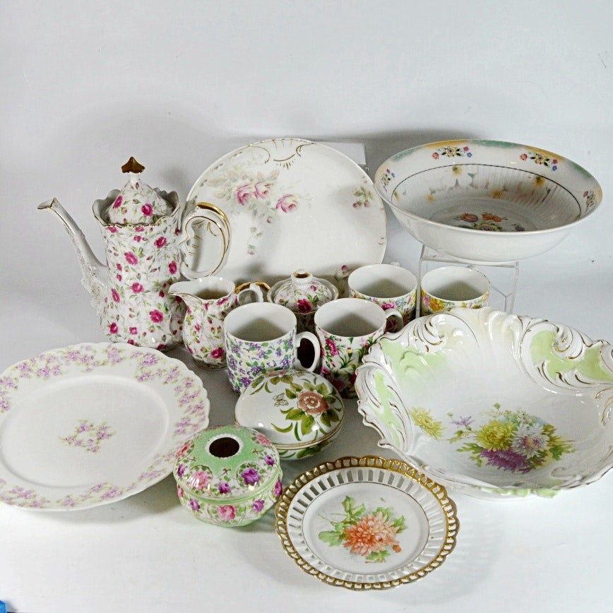 Antique Flowered Bavarian, German and Lefton Chinaware