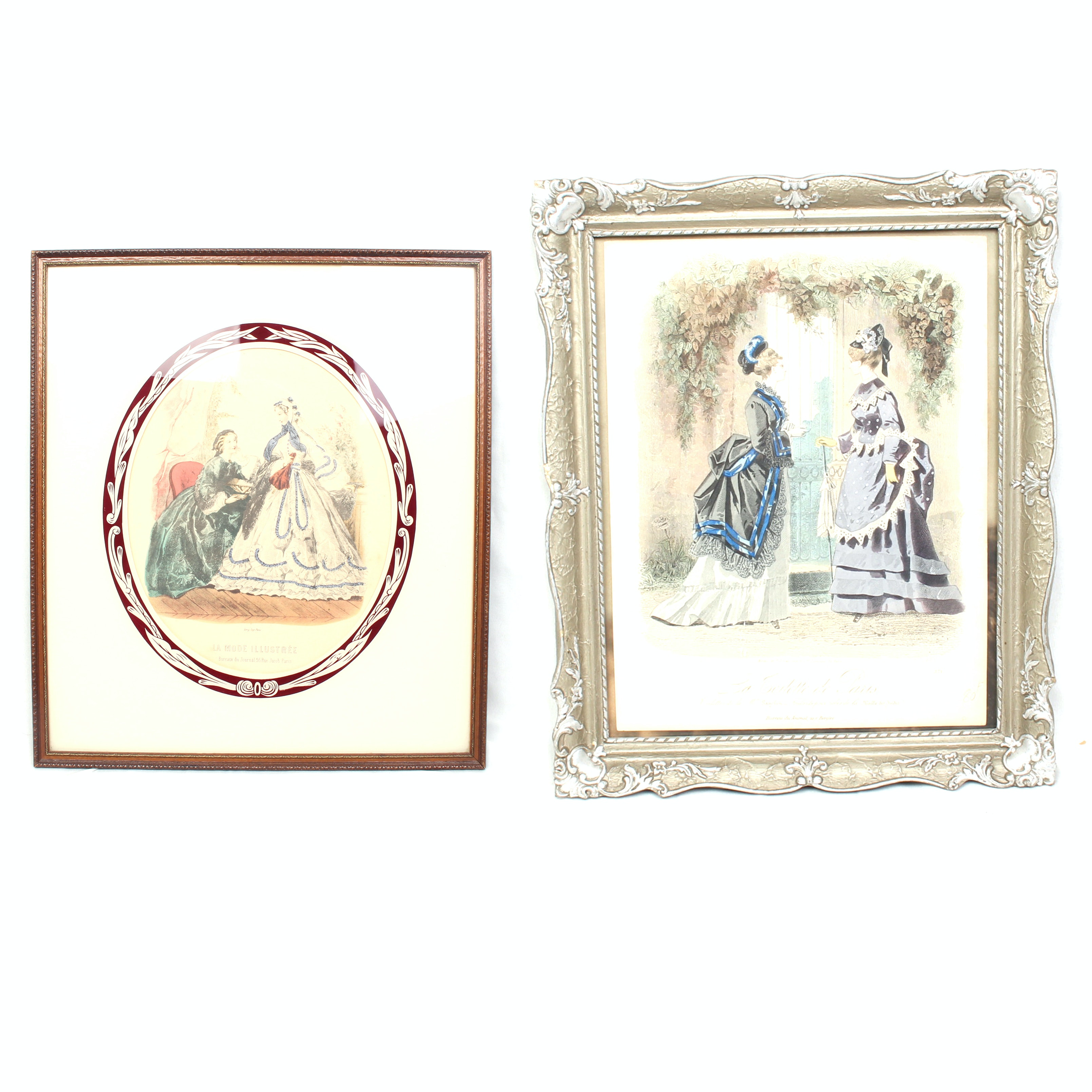 Antique French Fashion Color Etchings