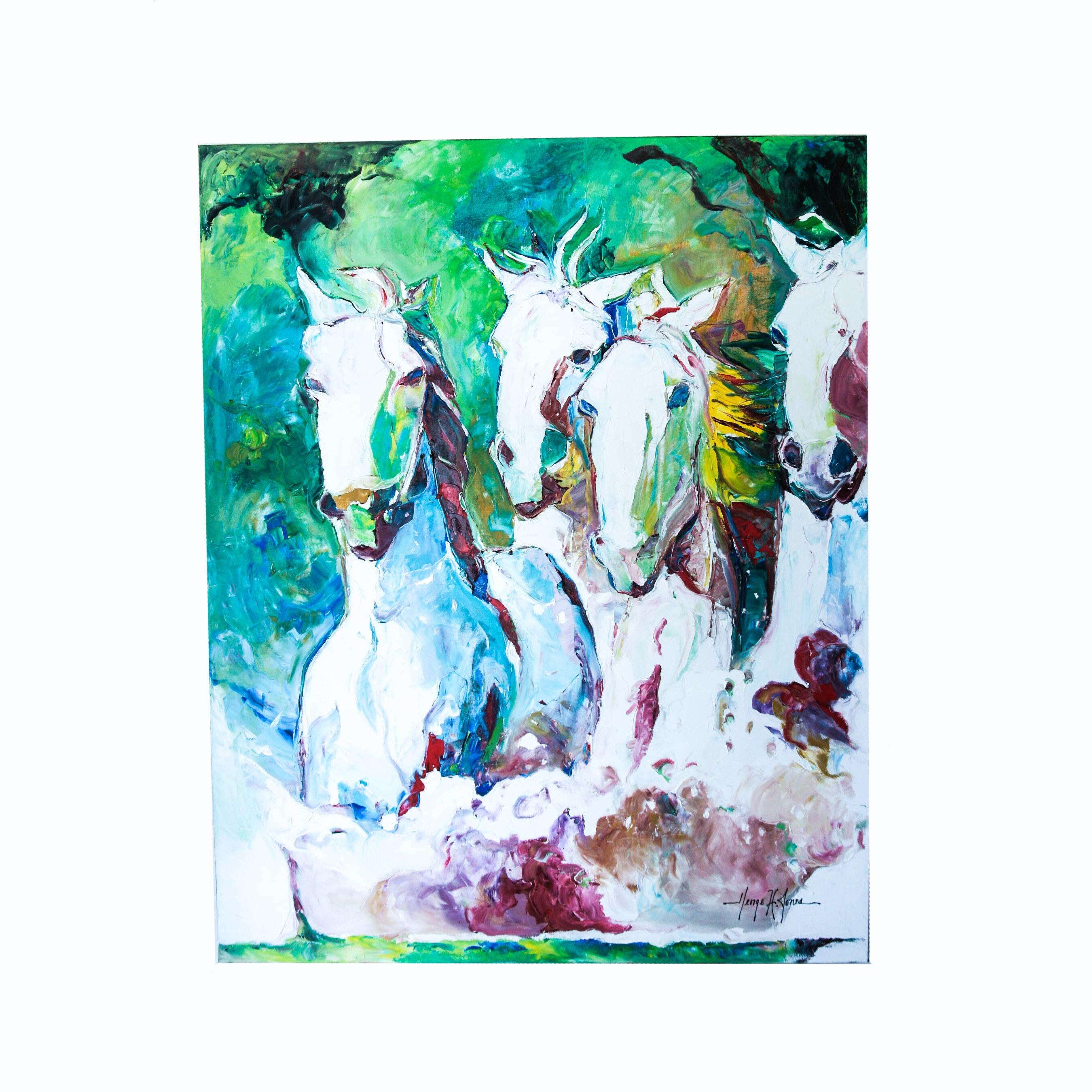 """Teamwork"" Oil on Canvas by George H. Jones"