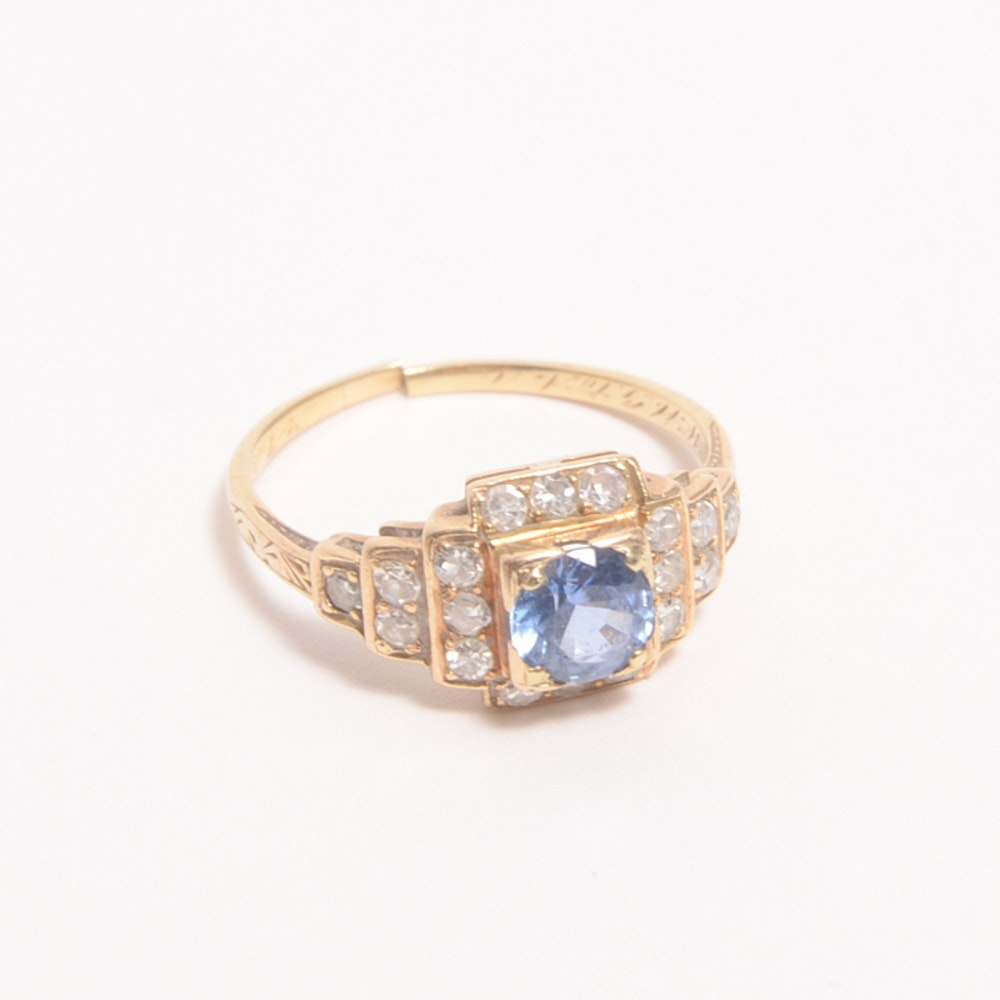 Antique 14K Yellow Gold, Sapphire, and Diamond Ring