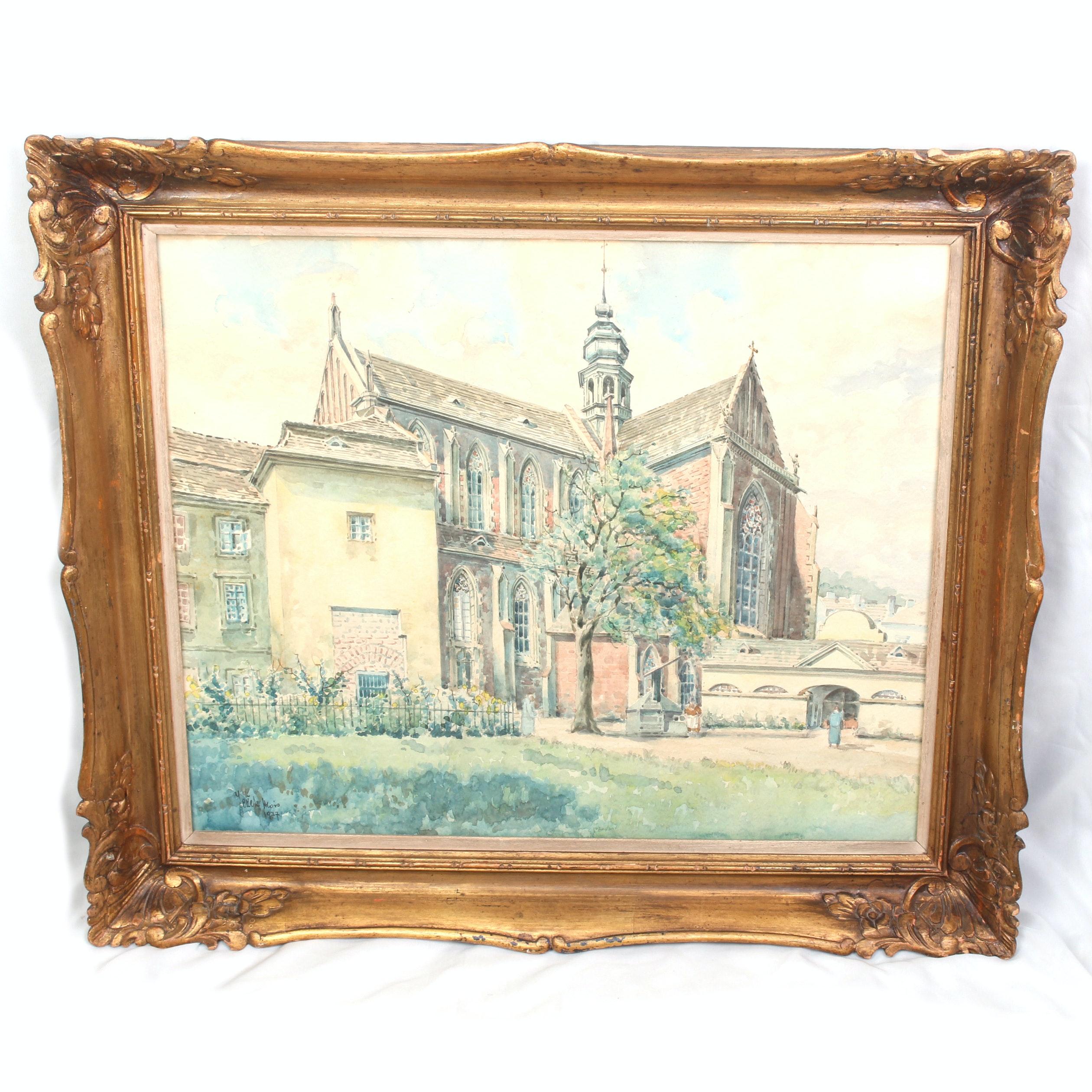 Circa 1937 Alois Jezek Original Signed Watercolor