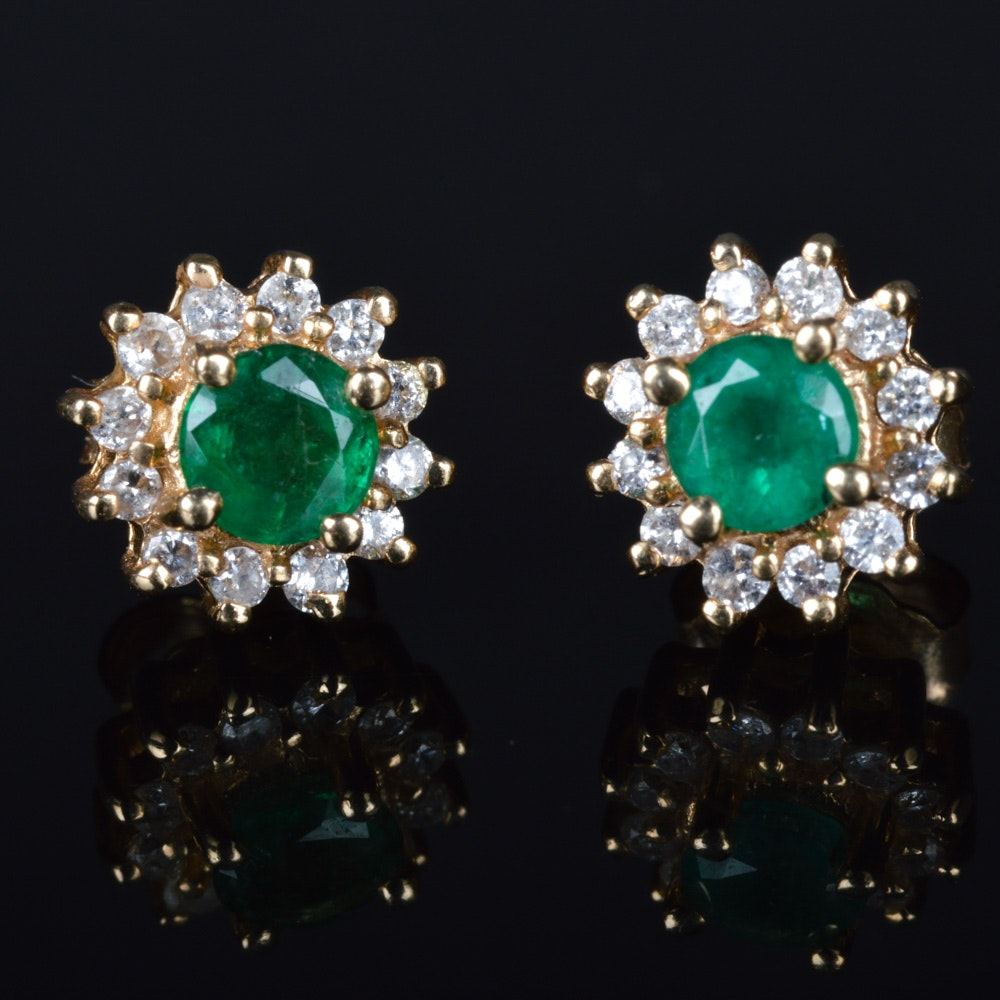 14K Gold 0.25 CTW Diamond and Emerald Earrings