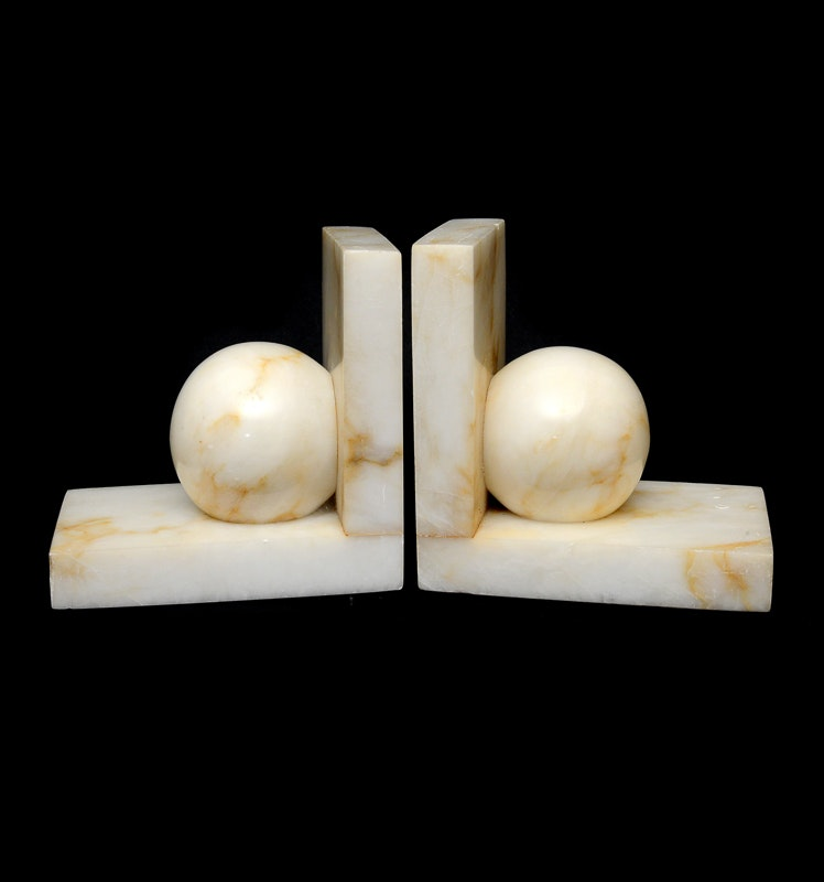 Set of White Marble Bookends