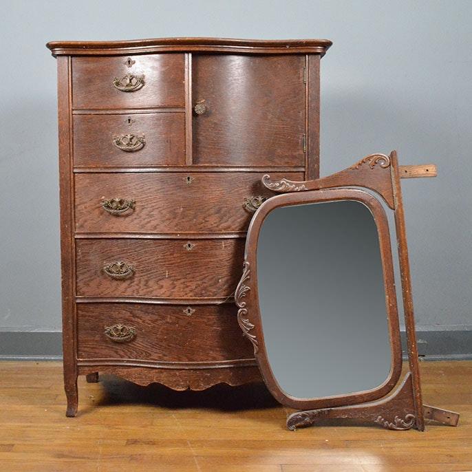 antique highboy dresser with mirror