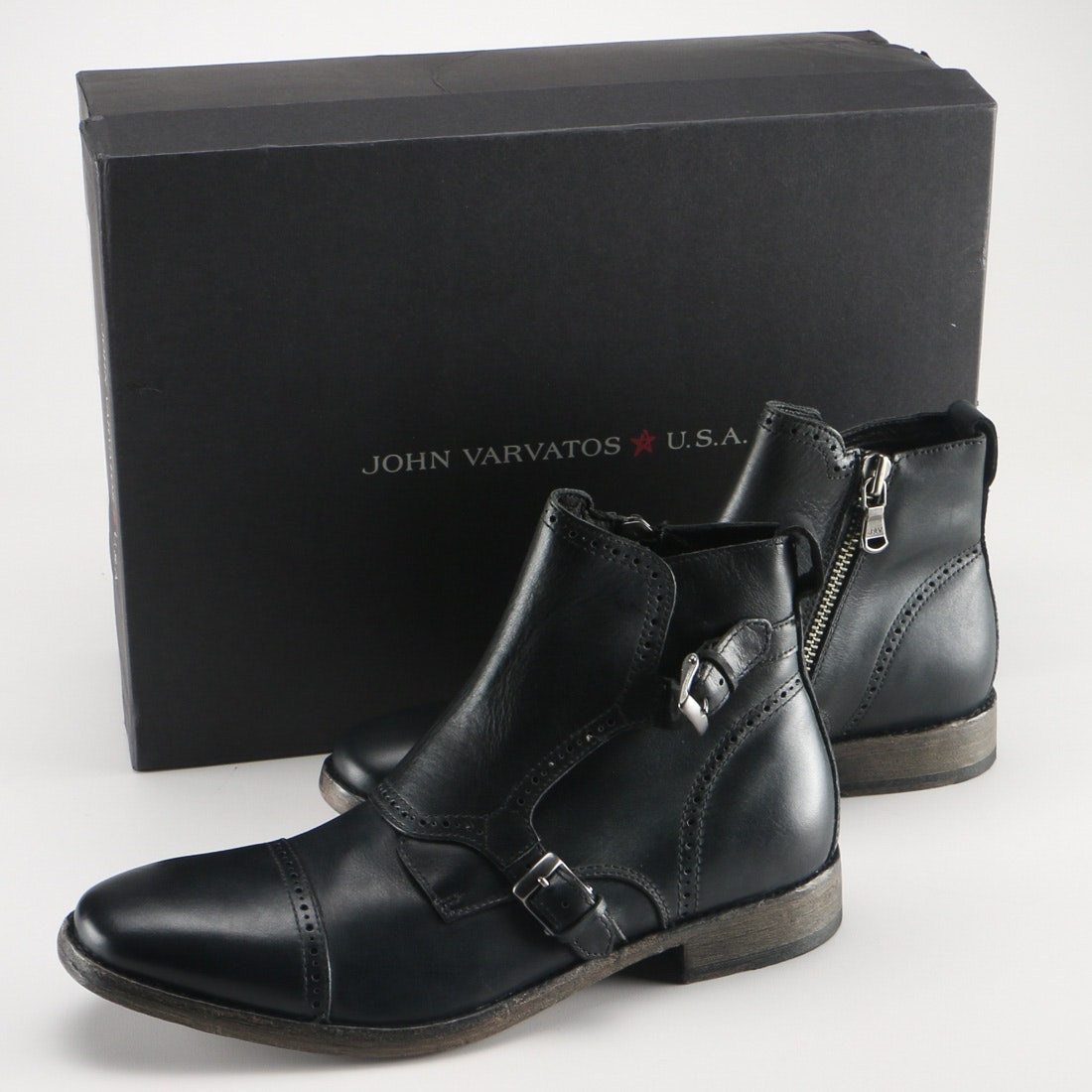 John Varvatos Leather Stanley Brogued Monk Boots