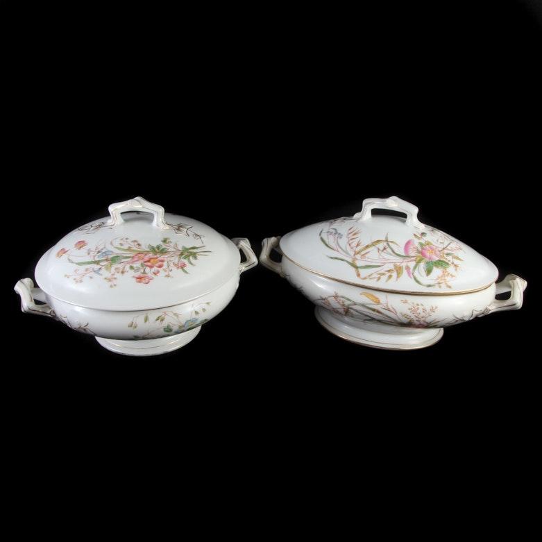 Antique Tressemanes & Vogt Limoges Covered Serving Dishes