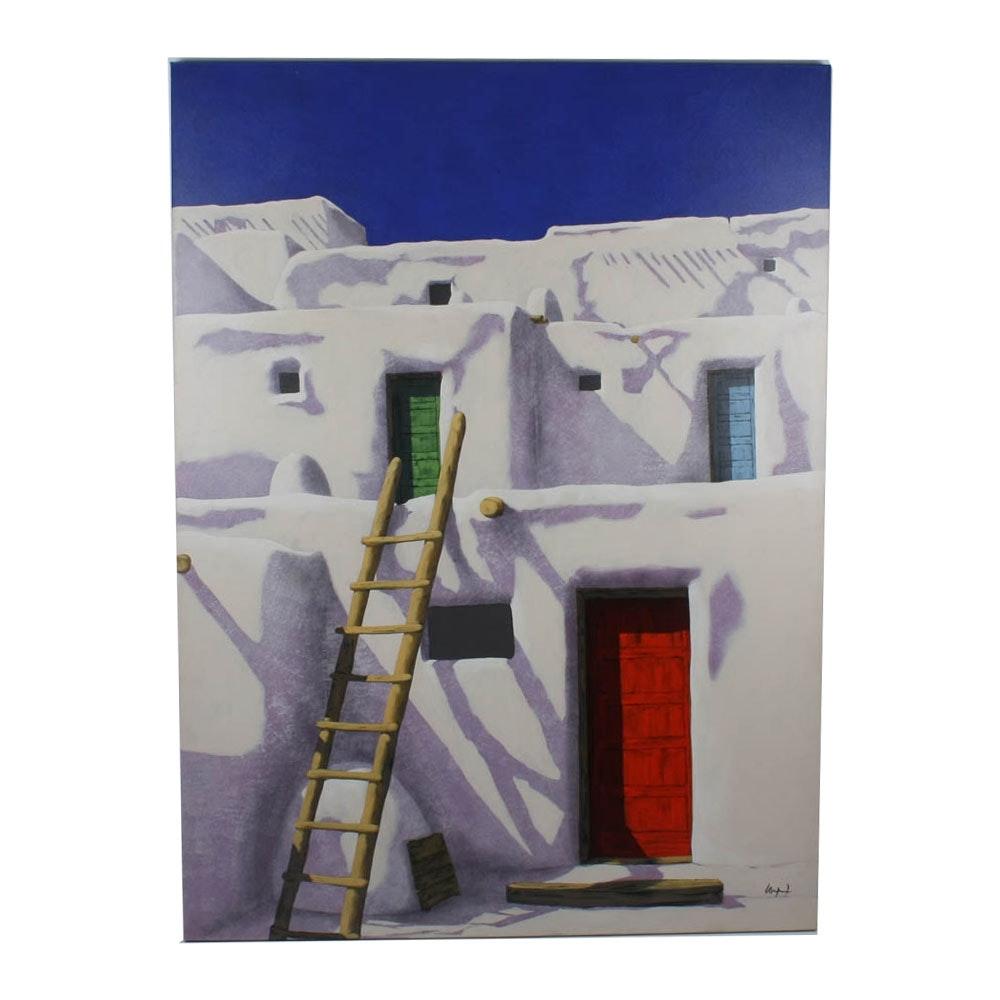 "Original Signed Acrylic ""Ochre Ladder"" by Mary Wyant"
