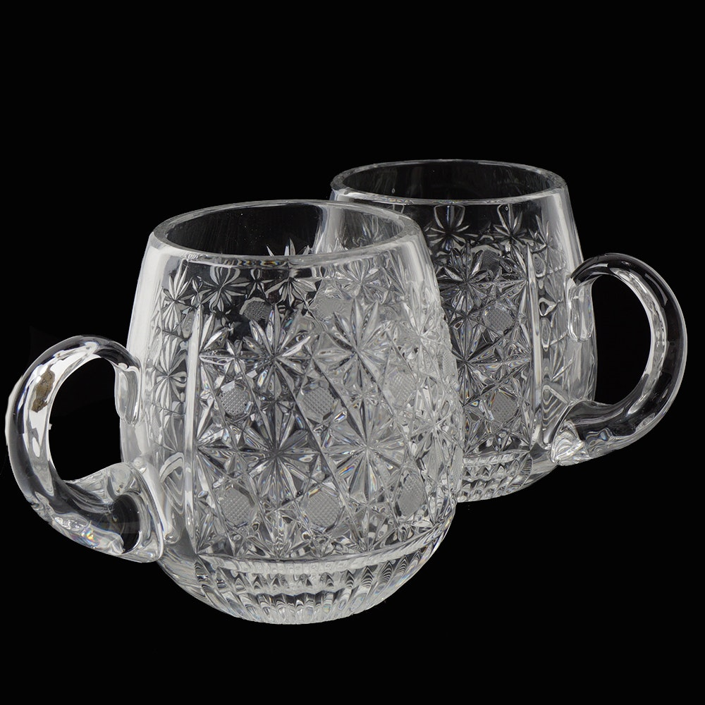Two Large Cut Crystal Steins
