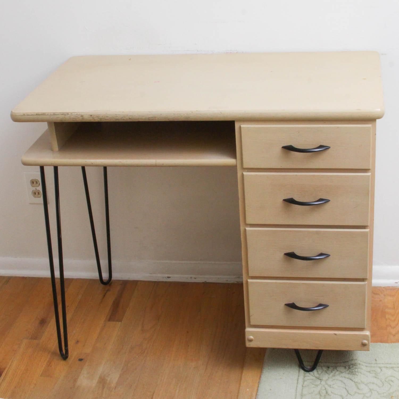 Mid Century Modern Wood And Metal Desk Ebth