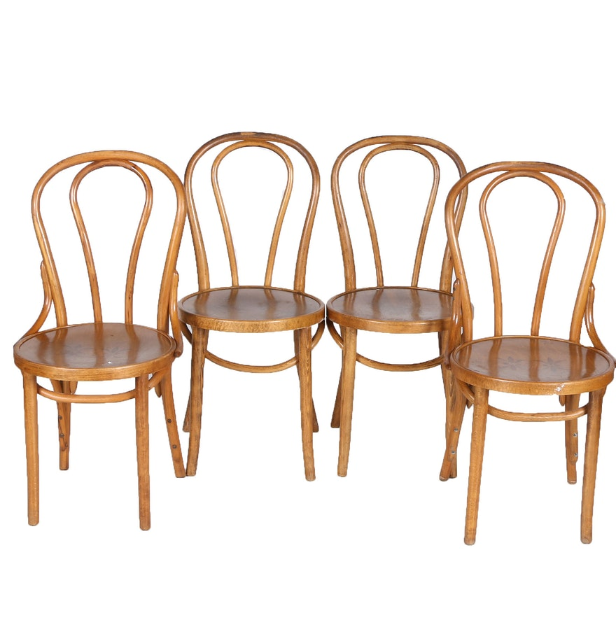 Vintage thonet style cafe chairs with stenciled seats - Vintage Thonet Style Cafe Chairs With Stenciled Seats