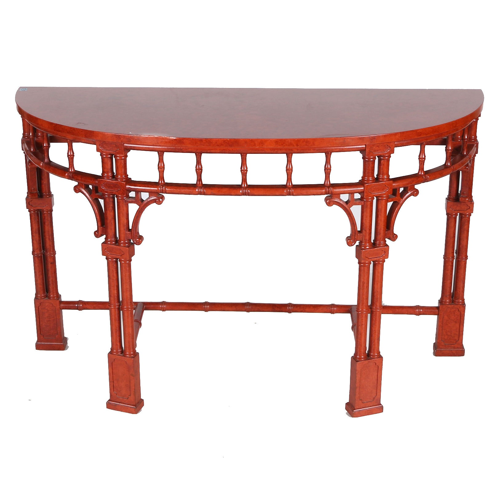 Contemporary Asian-Inspired Demilune Console Table
