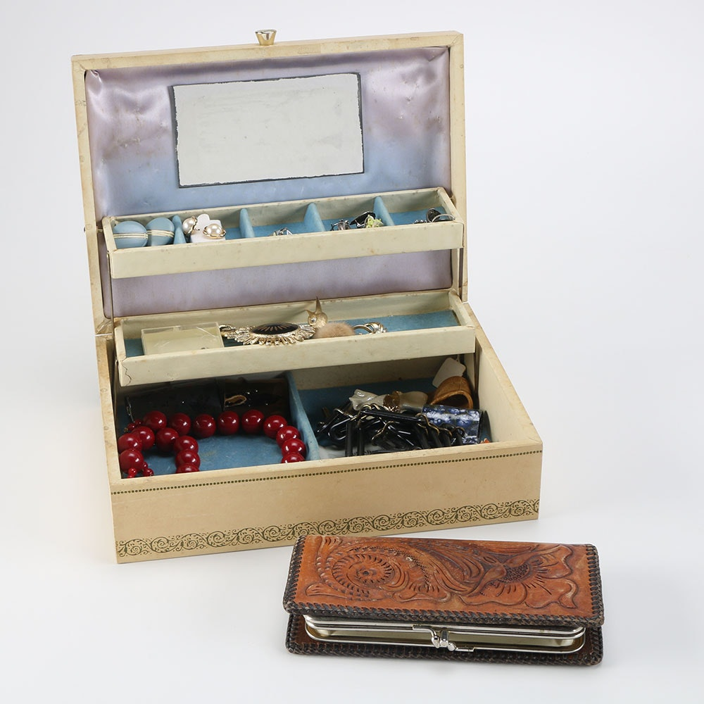 Costume Jewelry with Box and Tooled Leather Wallet