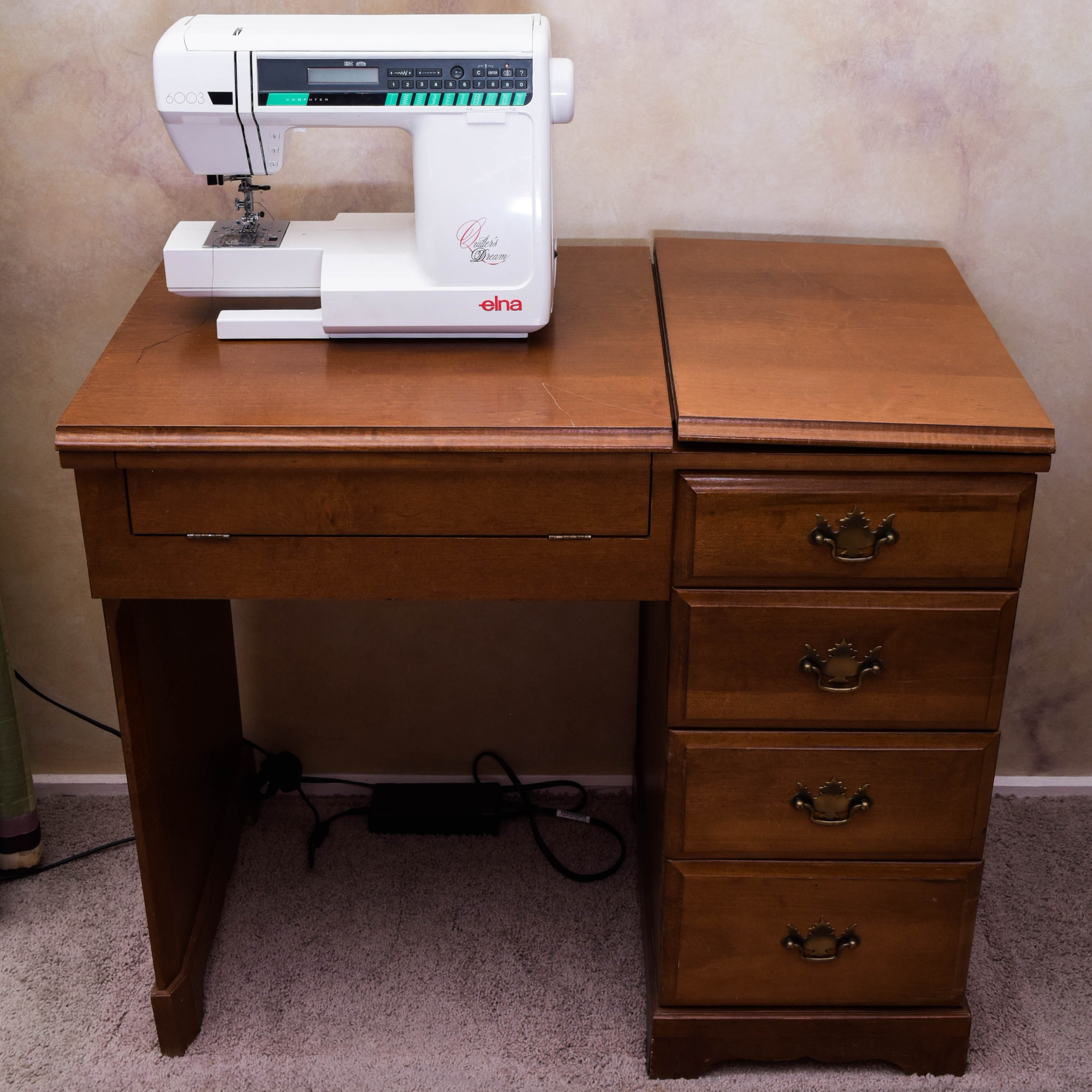Elna 6003 Sewing Machine with Cabinet