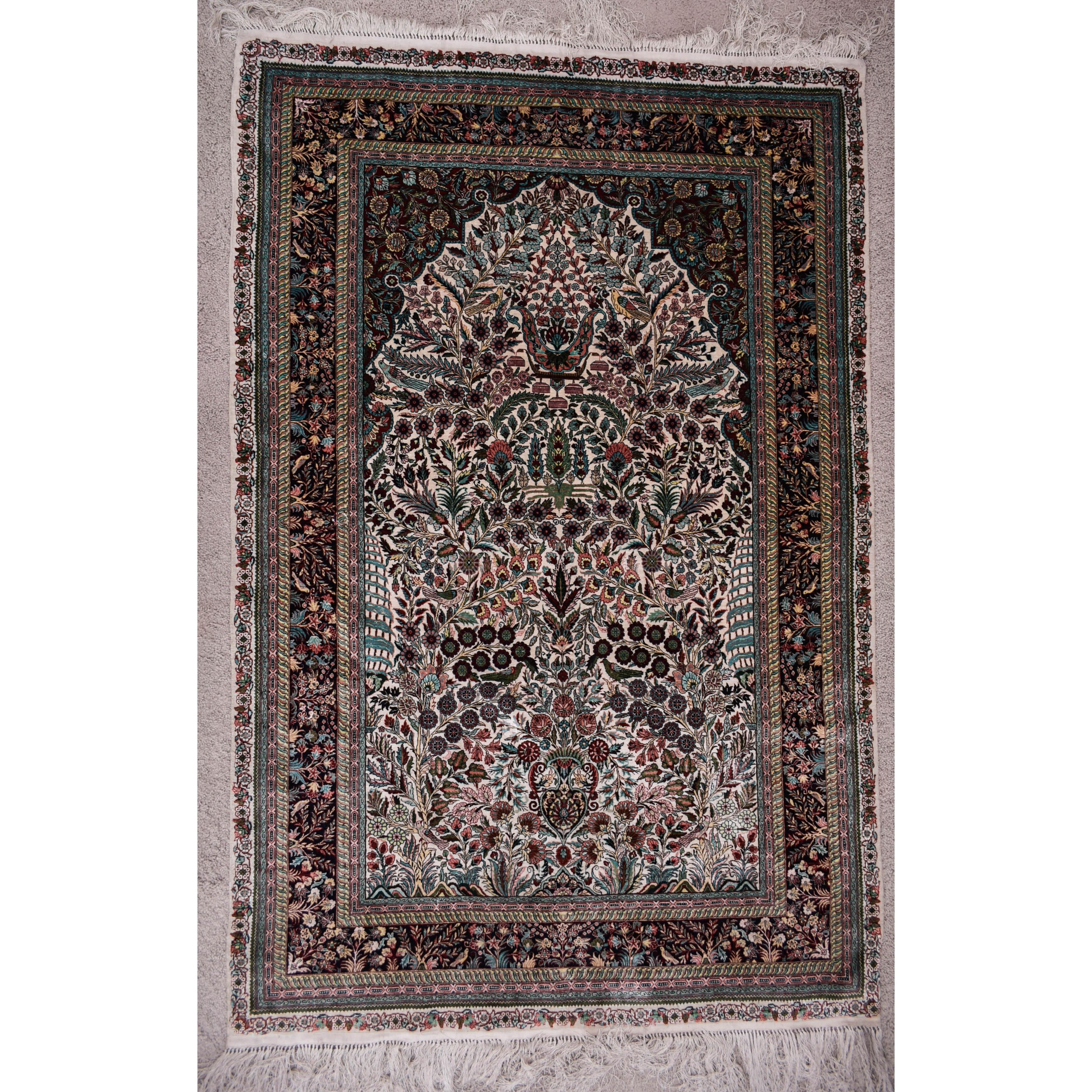 Mohtashem Kashan Tree of Life Silk Prayer Rug
