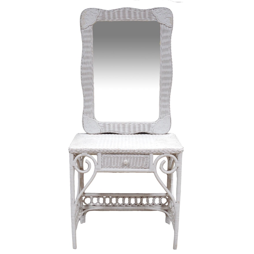 Pier 1 Jamaica Collection Mirror and Wicker Vanity : EBTH