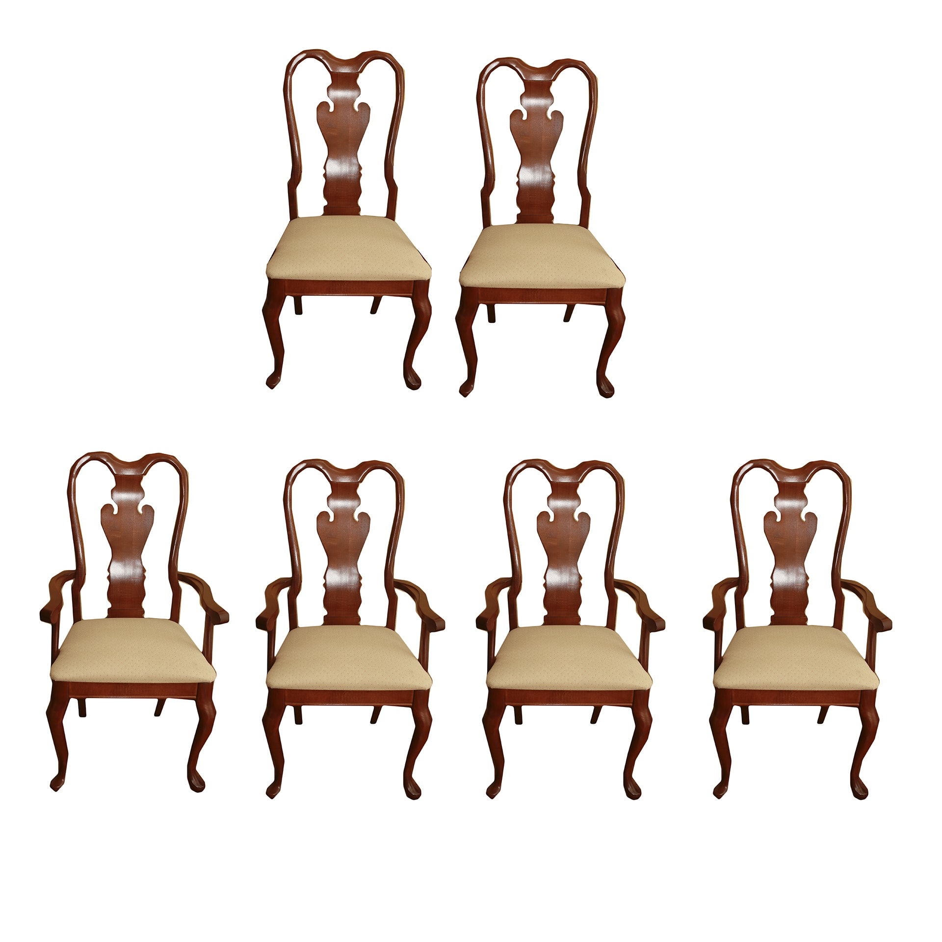 Set of Queen Anne Style Cherry Dining Room Chairs