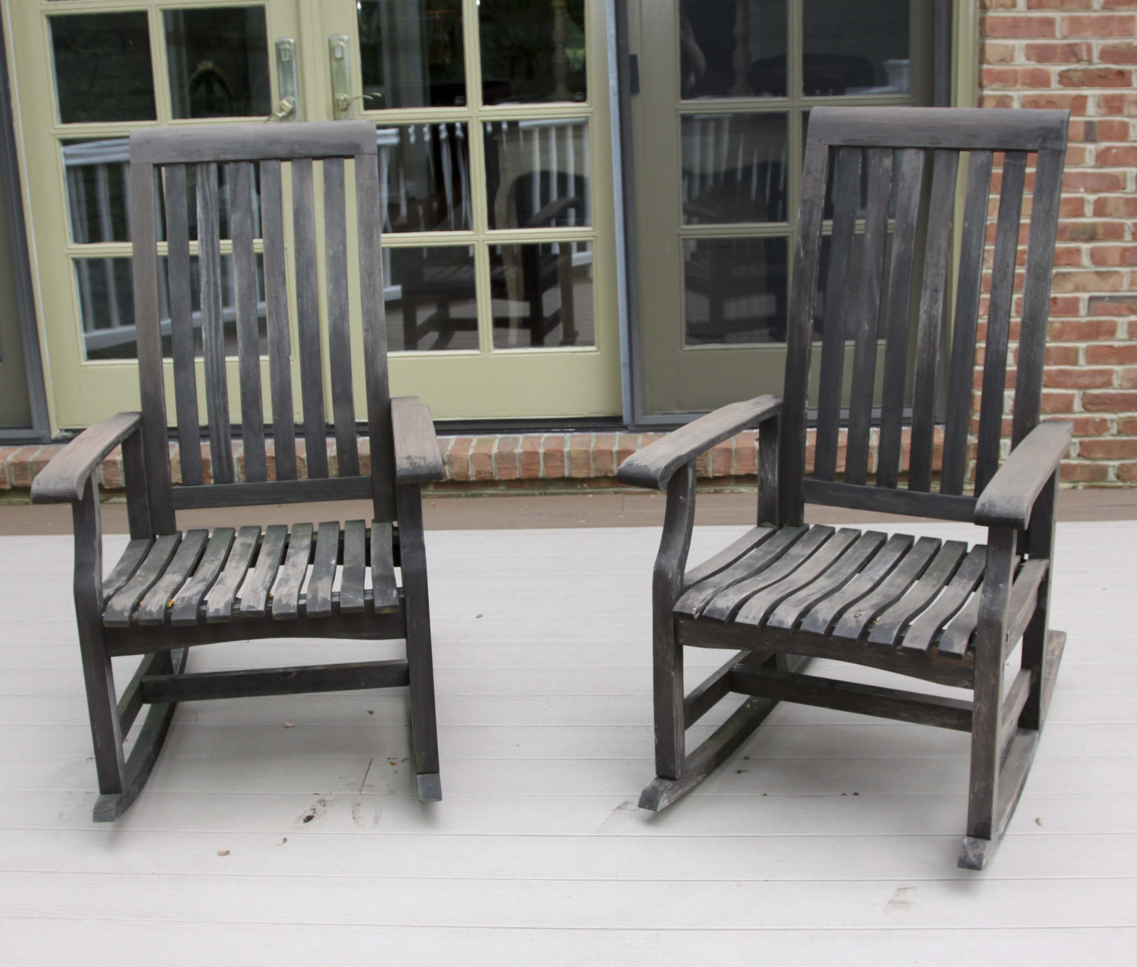 Pair of Wooden Outdoor Rocking Chairs