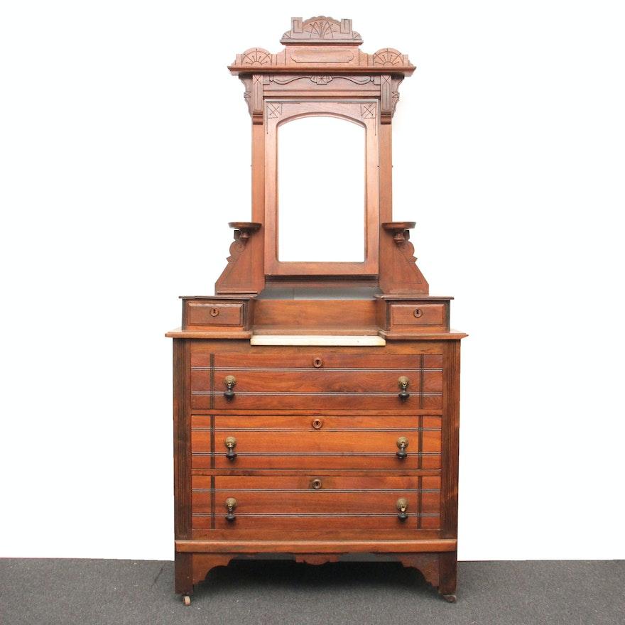 Antique Eastlake Victorian Walnut Dresser With Mirror Ebth