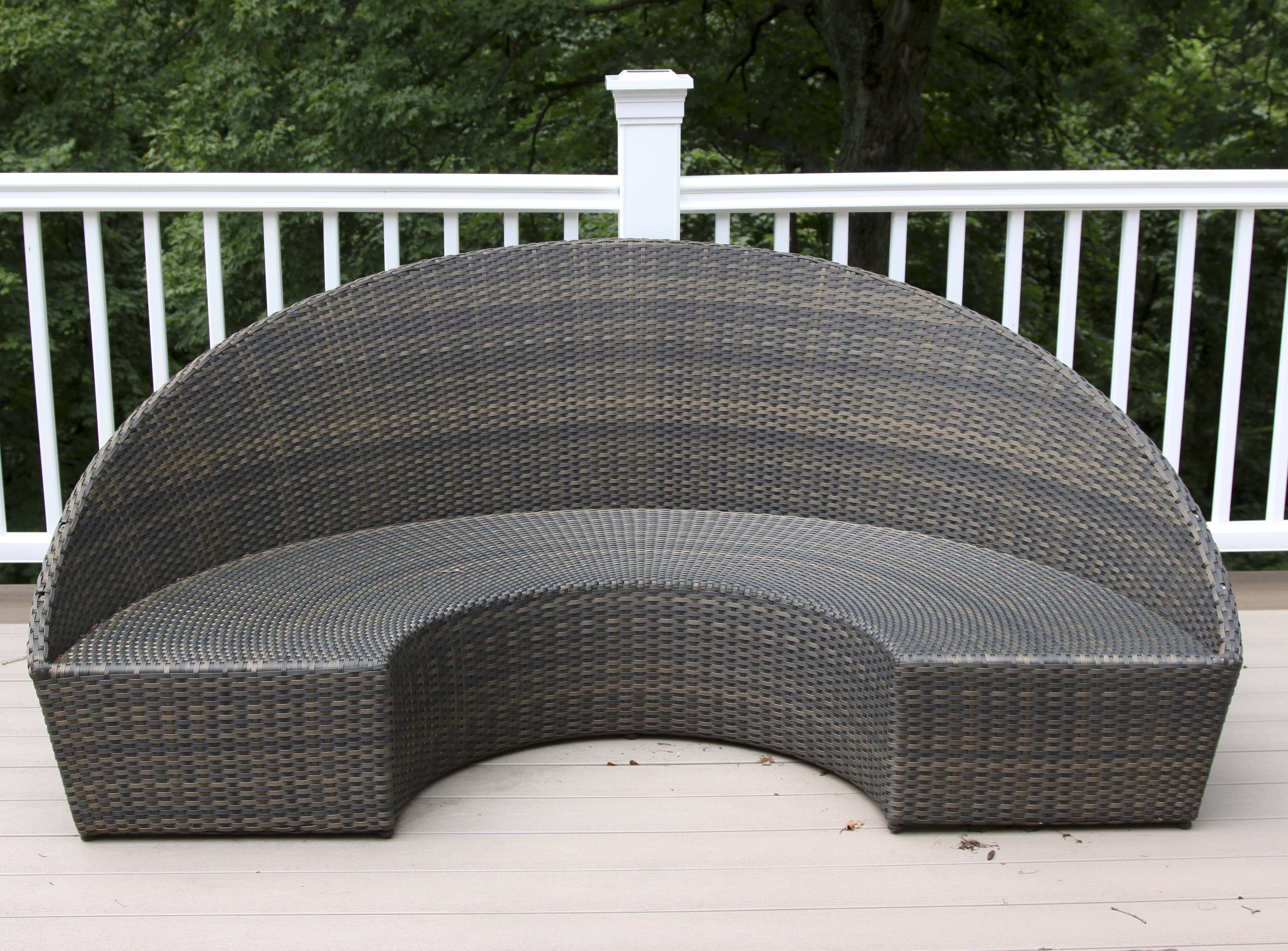 Frontgate Half Circle Woven Patio Bench